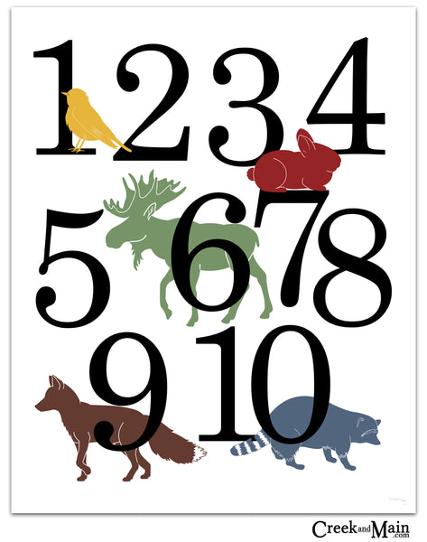 Printable animal wall art, woodland number poster