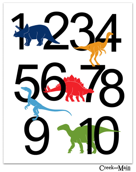 printable dinosaur nursery art, number poster
