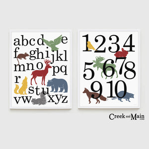 woodland wall art, animal alphabet poster, printable