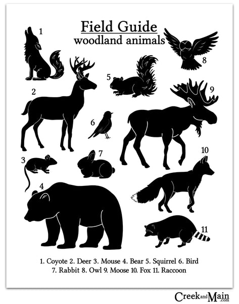 woodland nursery, black and white wall art