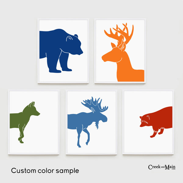 Printable woodland nursery art, bear, deer, fox, moose, raccoon
