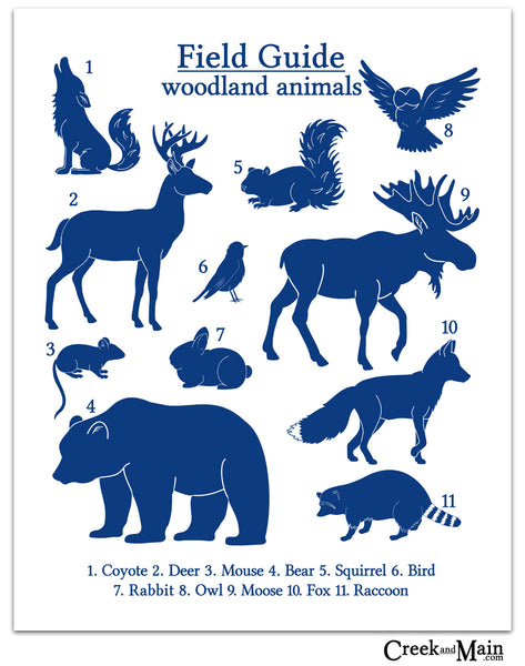 woodland nursery, navy blue wall art