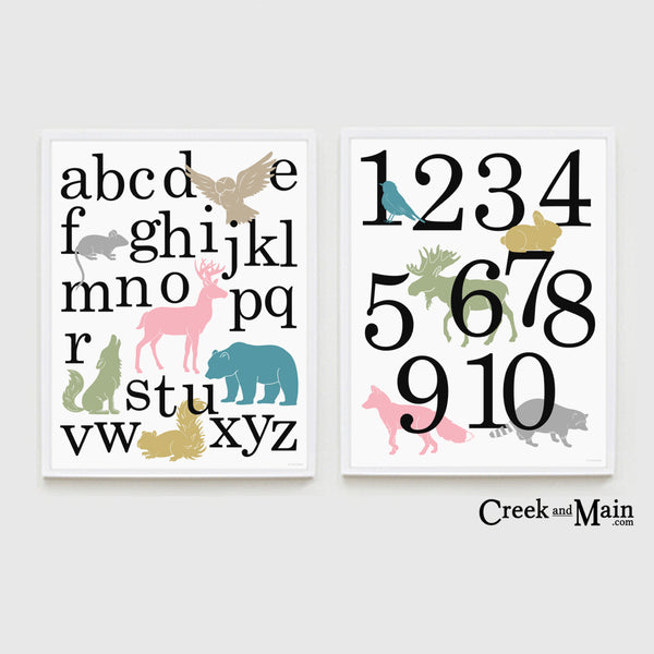 Girls woodland nursery decor, printable alphabet poster