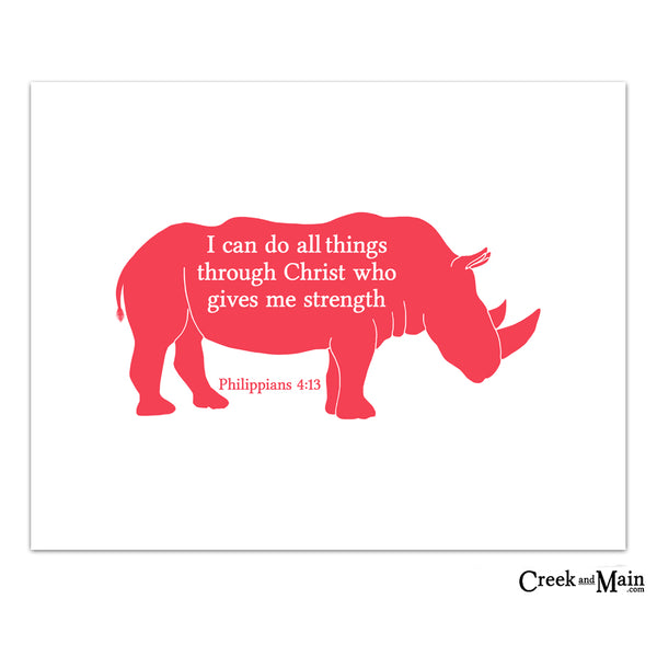 Safari nursery art, Philippians 4:13 kids wall art