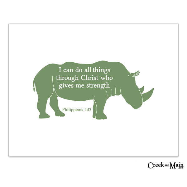 Rhino nursery decor, kids bible verse wall art