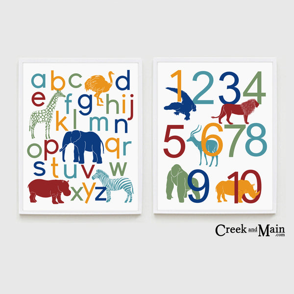 Jungle nursery decor, safari animal alphabet poster
