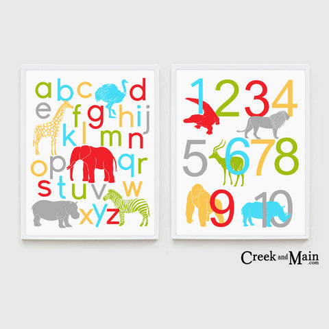Safari nursery decor, animal alphabet, number poster