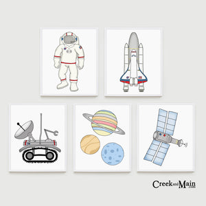 Space nursery art, kids bedroom decor