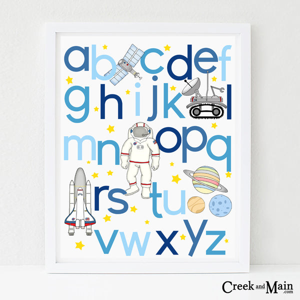 Space nursery art, alphabet poster
