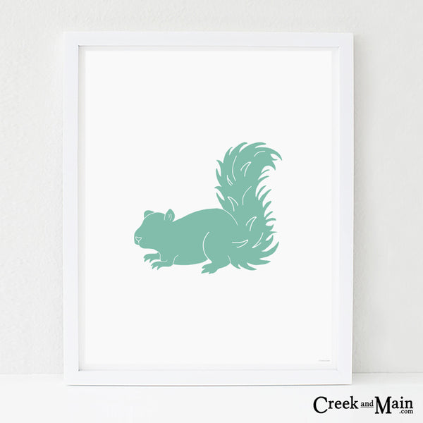 Printable woodland nursery, squirrel wall art