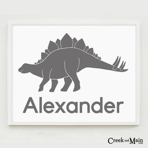 Printable dinosaur wall art, personalized stegosaurus