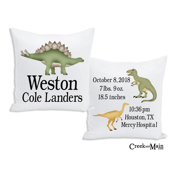Dinosaur Birth Stat Pillow