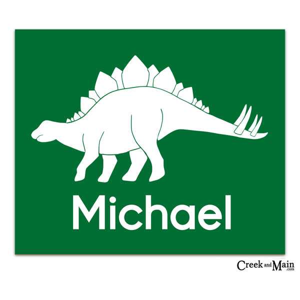 personalized nursery wall art, dinosaur, stegosaurus