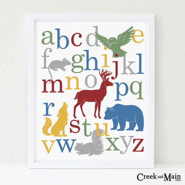 woodland alphabet poster, nursery decor