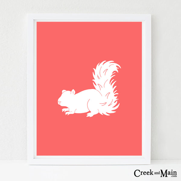 Printable squirrel nursery art, woodland nursery art