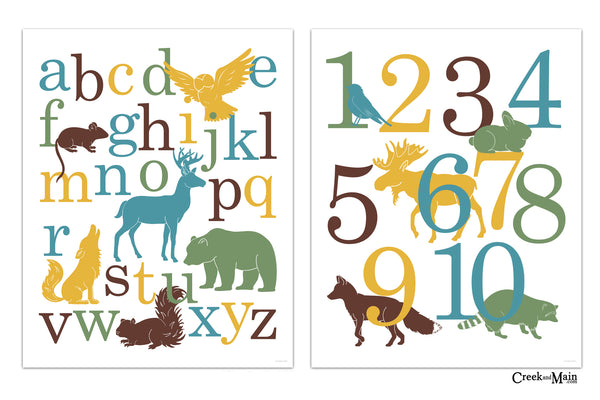 kids woodland bedroom, animal alphabet and number poster