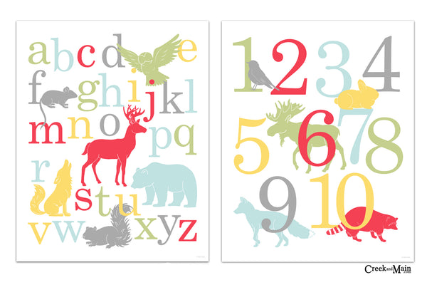 girls woodland decor, nursery wall art, alphabet and number poster