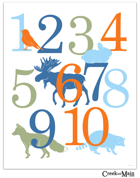 woodland nursery decor, animal number poster
