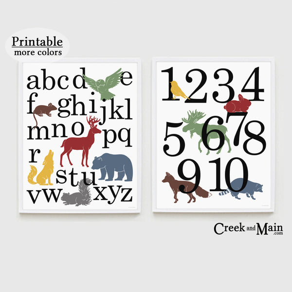 Printable Woodland Nursery Art, Alphabet and Number Poster