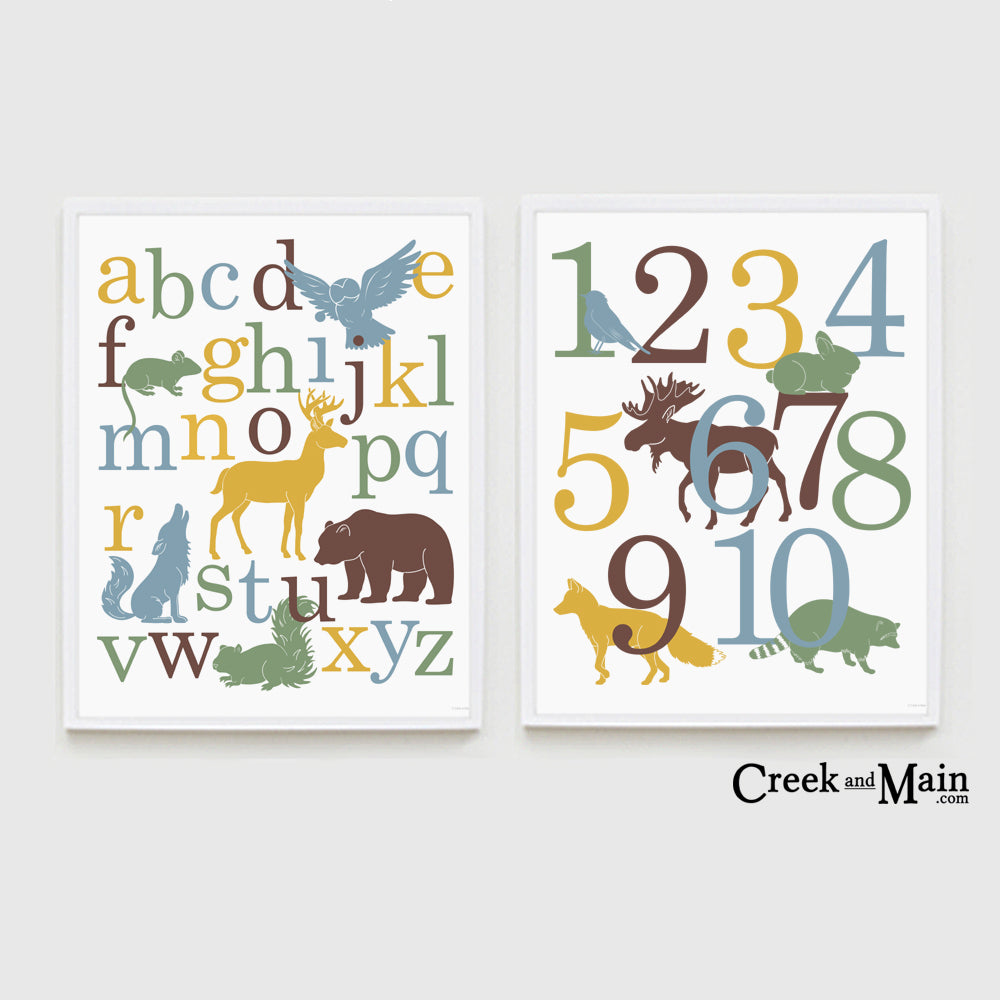 Woodland nursery art, animal alphabet and number poster set