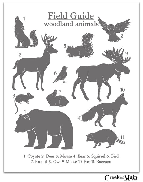 woodland nursery, gray wall art
