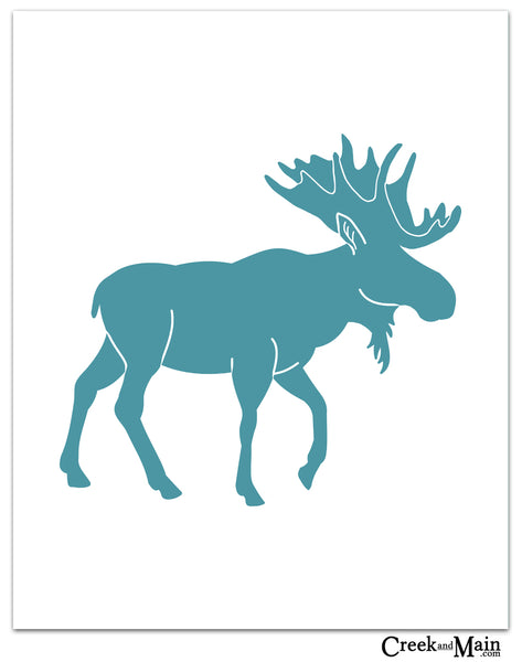 Printable moose nursery art, woodland decor