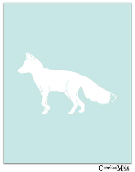 Fox art print, woodland nursery