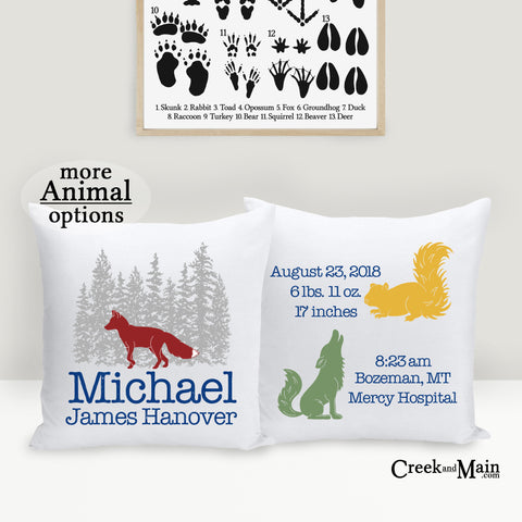birth stat pillow, woodland nursery decor