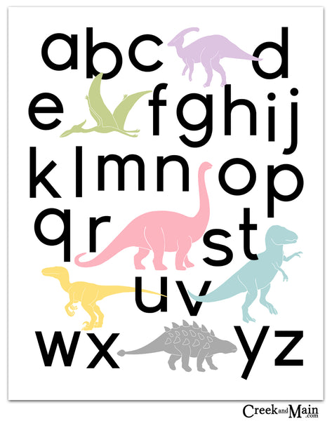 girls dinosaur decor, printable alphabet poster