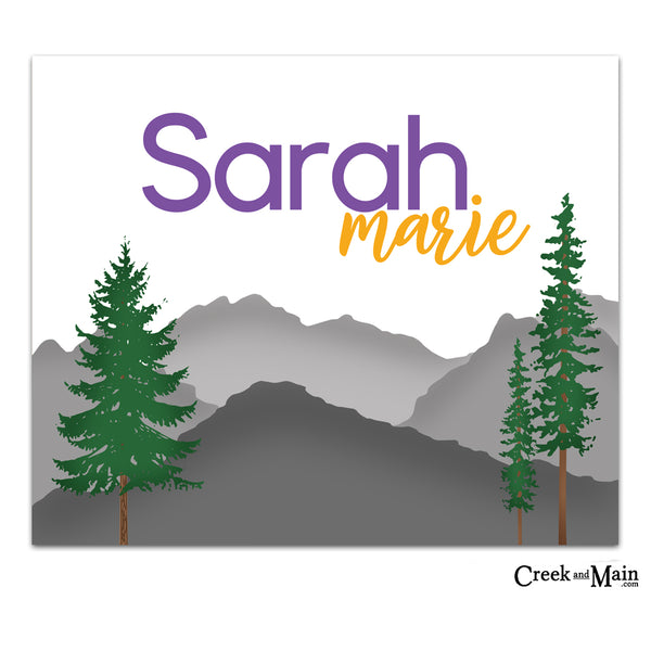 girls mountain decor, nursery art