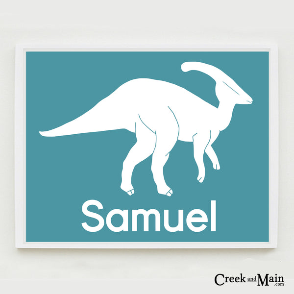 kids dinosaur bedroom decor, personalized print