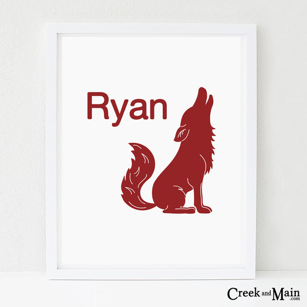 personalized coyote nursery art, woodland nursery