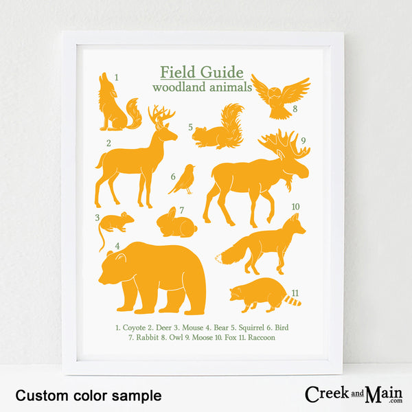 custom color woodland wall art, printable