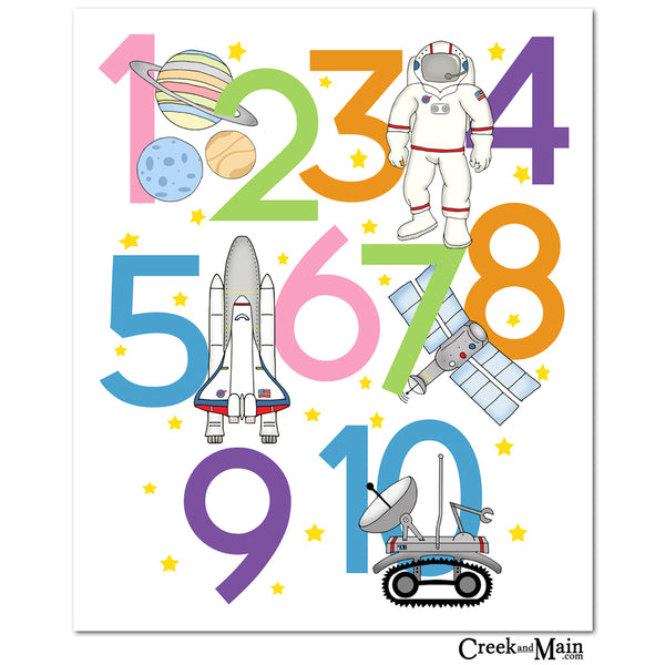 Kids space wall art, bedroom decor