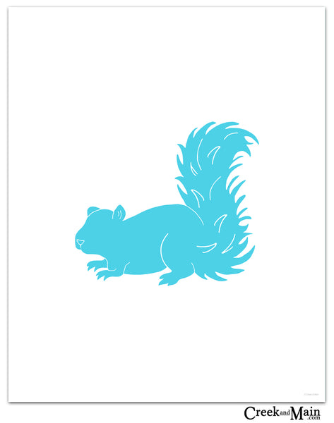 woodland nursery decor, squirrel art print