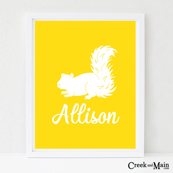 custom name squirrel wall art, woodland decor
