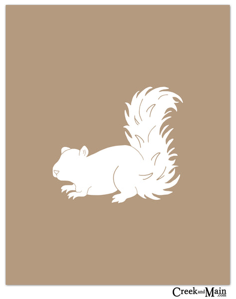 squirrel nursery decor, woodland art