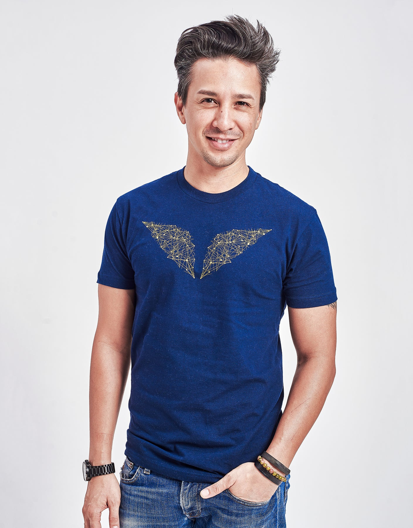 Men's Interconnected Gold Polygon Wings Crew Neck Tee