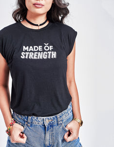 Women's Made of Strength Rolled Cuff Tank