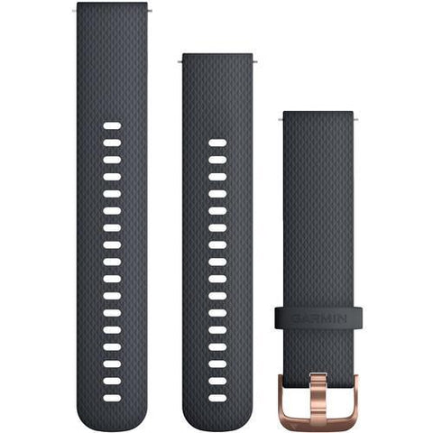 Garmin Quick Release Band 20mm, Granite blue silicone with rose-gold hardware*