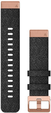 Garmin QuickFit 20 Heathered Black Nylon with Rose Gold HW