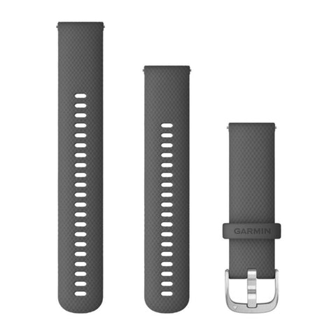Garmin Quick Release Band 22mm, Shadow-Gray Silicone with Silver Buckle