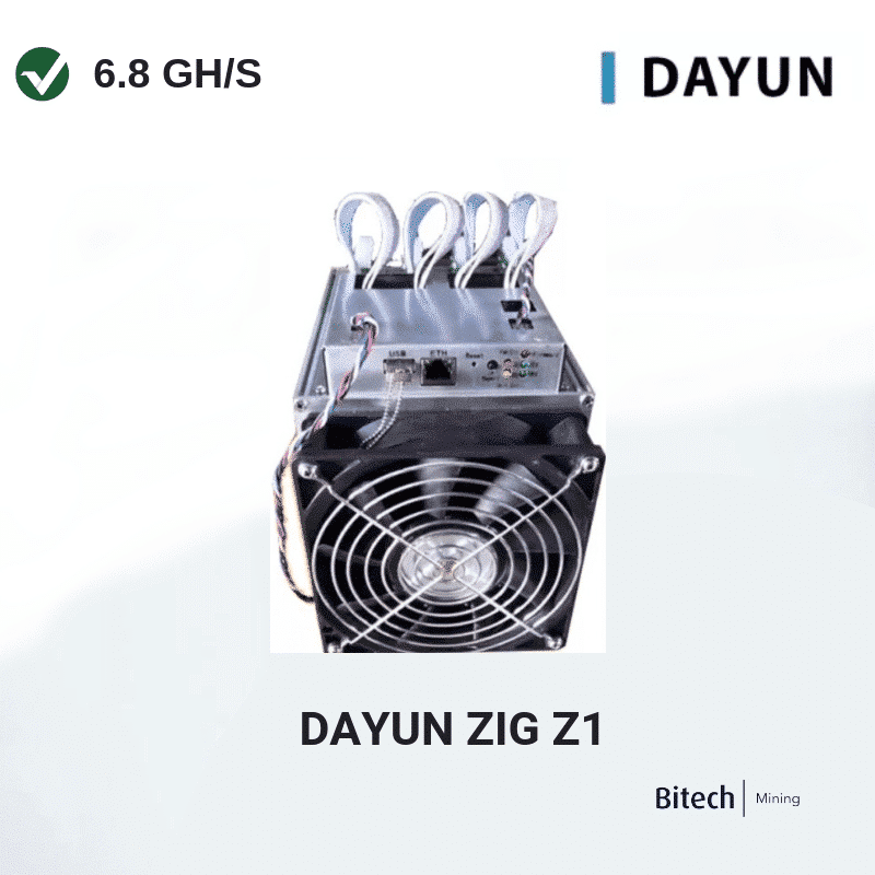 Dayun Zig Z1 6.8 GH/s with PSU and 12 Month Turnkey Hosting