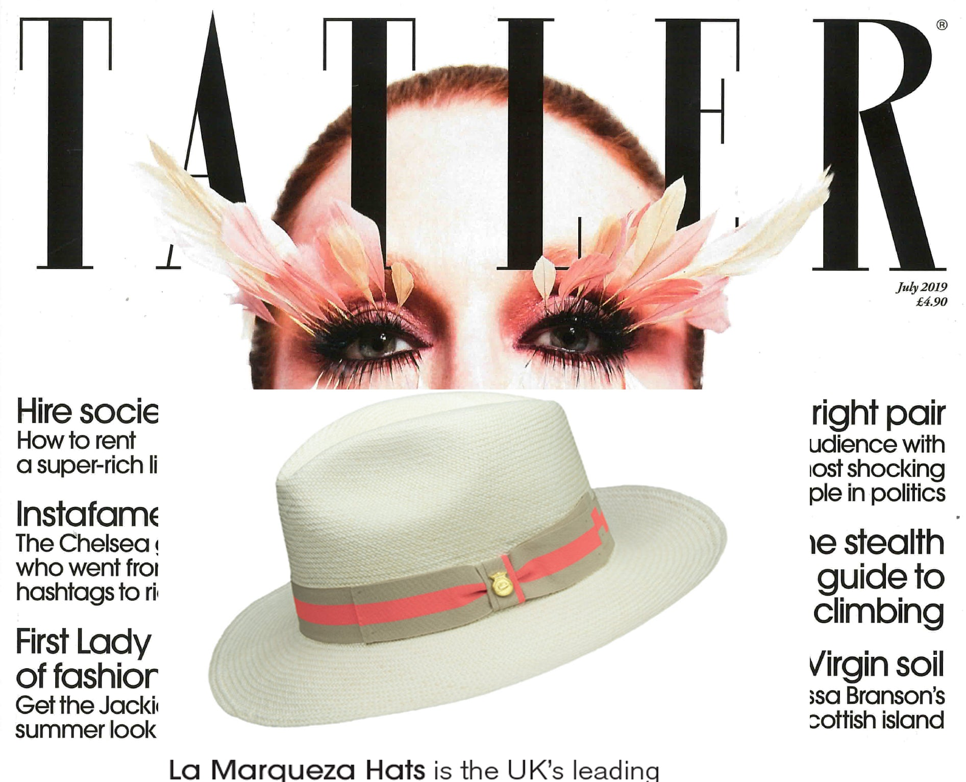TATLER FEATURES OUR NEON PANAMA HAT, ISSUE JULY 2019