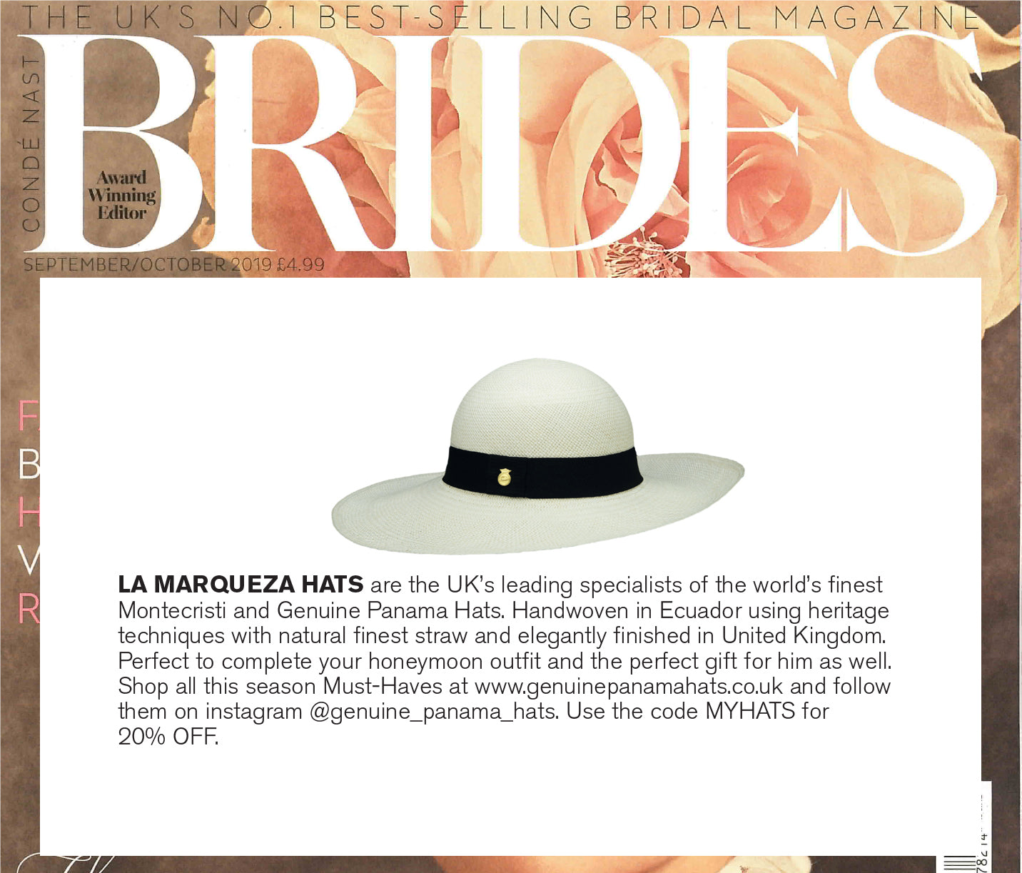 AS FEATURED IN BRIDES MAGAZINE - LA MARQUEZA HATS, SEPTEMBER/OCTOBER ISSUE 2019