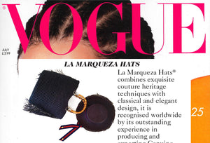As featured in VOGUE MAGAZINE - La Marqueza Hats and Bags, July issue 2019