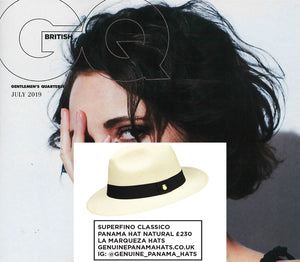 BRITISH GQ FEATURES THE SUPERFINO CLASSICO NATURAL BY LA MARQUEZA HATS, ISSUE JULY 2019