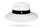 Quality Panama Hat with metallic logo on the band
