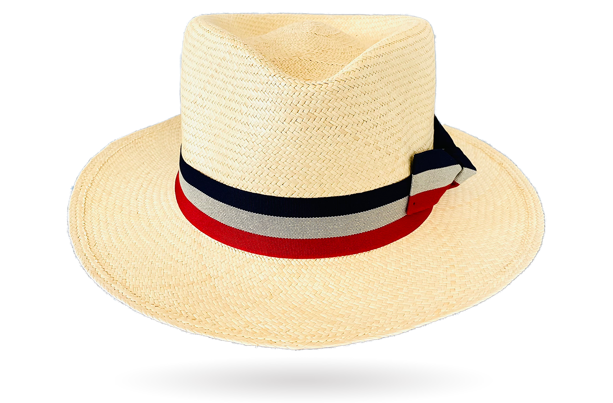 Montecristi Hat Teardrop, striped band by La Marqueza Hats