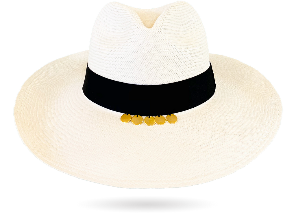 Superfino Gold Panama Hat White black band